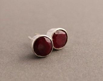 Natural Ruby earrings - Ruby stud earrings - Round studs - Bezel earrings - Gemstone earrings - Gift for her