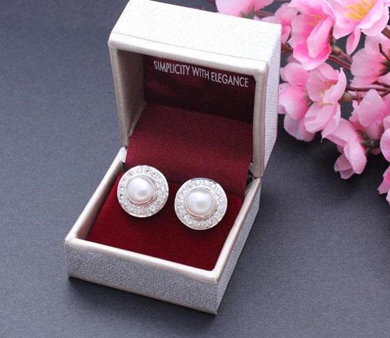 Cz earrings - Pearl earrings - Bridal earrings - Wedding earrings - Stud earrings - Artisan earrings - Gift for her