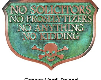 Large No Solicitors No Kidding Great Shield Shape with Pirate Skull and Cross Bones 15x11 inches
