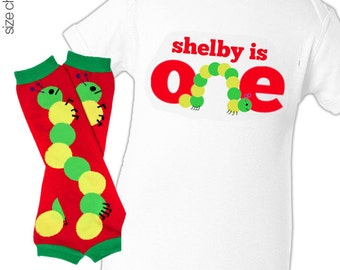 Birthday boy or girl personalized caterpillar bodysuit or Tshirt and leg warmer matching set
