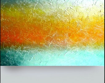 Large ABSTRACT painting on canvas palette knife teal orange acrylic textured modern metallic fine art Heavenly Wave Carol Lee