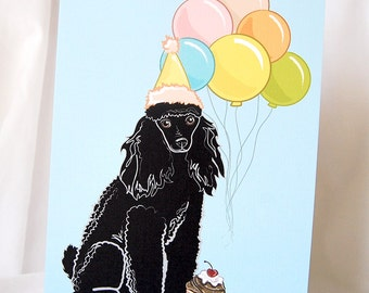 Poodle 'n Balloons Greeting Card