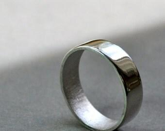Men's Wedding Ring. 6mm. High Shine Wide Flat Band. Modern Contemporary Jewelry. Handmade