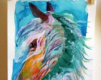 Waterhorse Print, Watercolor Horse, Wild Pony Painting, Wild Horse Print, Watercolor Pony, Colorful Horse Painting, Wild Horse Picture, Pony