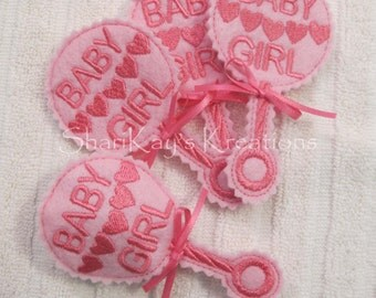 Party Favors, Baby Shower, Boy, Girl, Baby Rattle, Candy Holder - Set of 4