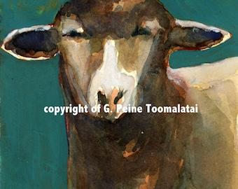 Upclose Lamb portrait original watercolor on archival paper lamb art sheep art turquois orange ewe lamb sheep
