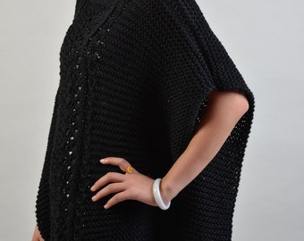 hand knit woman cotton Ponchocapelet Black sweater - ready to ship