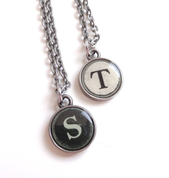 Antique Silver Typewriter Key Style Necklace - Initial Necklace - Typewriter Key Jewelry - Personalized Necklace
