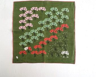 Tammis Keefe Handkerchief / Orchard Print / 1950s Linen Handkerchief
