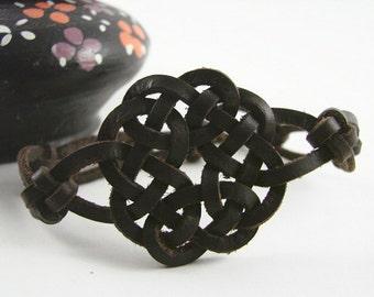 Four Seasons Celtic knotted Spanish leather bracelet