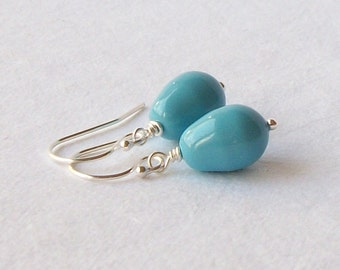 Turquoise Blue Pearl Earrings, Bridesmaid Jewelry Gift