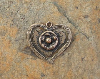 Bronze Double Heart Pendant