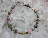 Reserved for Debbie - Gemstone Bracelet, Silver Bracelet, Natural Stone Bracelet, Whispering Stones Bracelet III