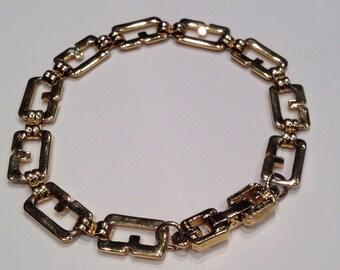 Vintage Givenchy Bracelet G logo link gold tone