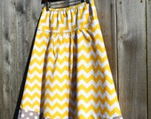 Chevron A Line Skirt, Yellow Chevron and Gray dots, Riley Blake, Skirt size women's 2-22