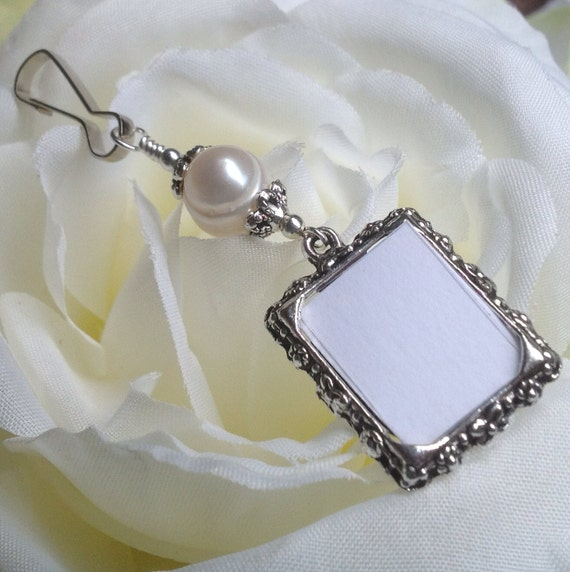 wedding bouquet photo charm with freshwater pearl diy photo pearl