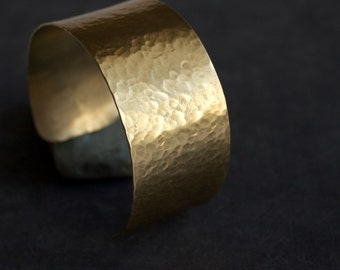 Gold Brass Cuff Bracelet Wide Hammered Textured Tribal Organic Boho Jewelry