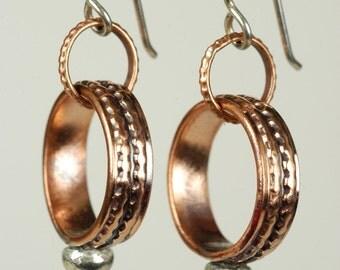 Petite Wide Band Hoop Earrings in Copper and Silver, Small Textured Loop Earrings