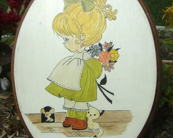 Vintage Hand Painted Girl Wall Art On Wood - Precious Moments Style Art by Fran - Girls Room Decor - Little Girl Wall Hanging