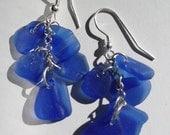 Dangle Earrings-Genuine Blue Sea Glass- Rare Cobalt Blue- Hand Made jewelry