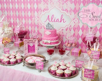 PINK ARGYLE PRINCESS Printable Party Decor Package -  No customization included