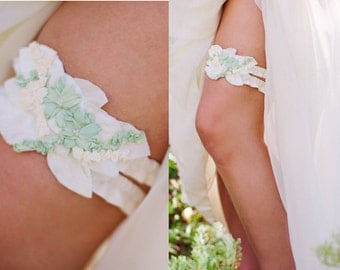 Ready to Ship- Luxury Pure Silk Wedding Garter Set - mint, cream, and ivory. One of a kind event.