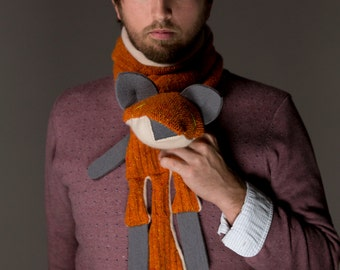 Upcycled Cashmere Fox Animal scarf - one of a kind