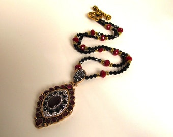 SALE Unique Statement Necklace,Ruby and Red Garnets with Swarovski Diamond Look Crystals,Renaissance Style,One of A Kind Designer Pendant 48