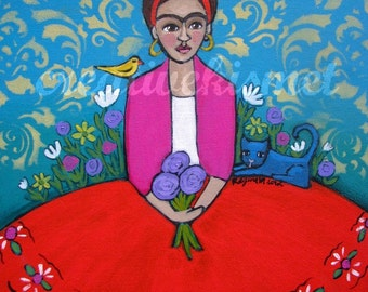 Sale - Frida Kahlo with Blue Cat, Art Print by Regina Lord