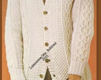 Crochet Aran Cardigan Pattern - Ladies Bust 38 & 42 - PDF Pattern 19712 - Instant Download
