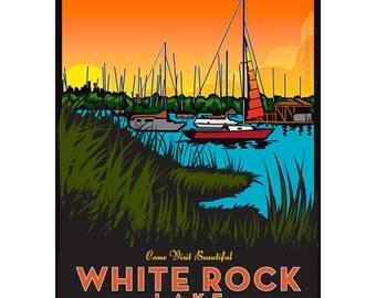 White Rock Lake (Lake) Framed Art Print