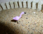 Glass pink flamingo fairy garden accessories - made to order