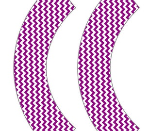 Dark Purple Chevron Cupcake Wrapper