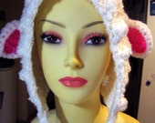 Adult Lamb Hat Soft White Hand Crocheted