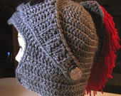 Knight Helmet Hat Beanie in Gray with Red Plumes Removable Visor