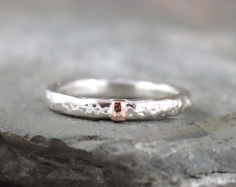 14K Rose Gold and Hammered Sterling Silver Band-Round Comfort Fit Style-Men's or Ladies Jewelry-3mm Wedding Bands-Mixed Metal-Stacking Ring
