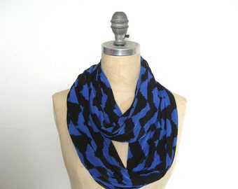 Infinity Scarf in Cobalt Chevron Print, Gift