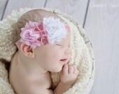 Pink & White Vintage Shabby flower Red Chevron Headband - Baby Headband - Toddler Headband - Photo Prop