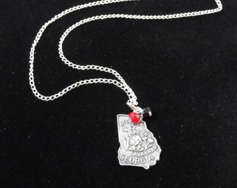 Georgia Bulldogs Necklace, Vintage Georgia State Map Sterling Silver Charm, Red & Black Beaded Pendant Sterling Silver Chain Necklace