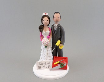 Construction Worker & Nurse Custom Made Wedding Cake Topper