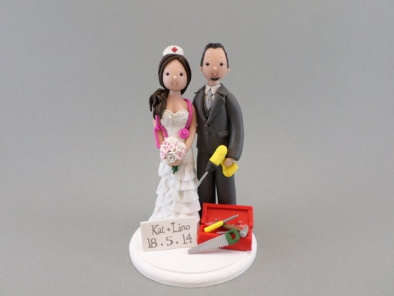 Cake Toppers Construction Worker Nurse Custom Made Wedding