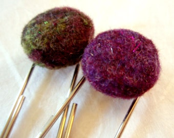 Bookmark Set - Needle Felted Wool Pebble Bookmarks - Dark Purples and Greens Set - Unusual Bookmarks for Bibliophiles