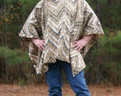 Make My Day Ombre Zig Zag Fleece Poncho