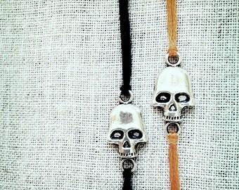 skull bracelets halloween jewelry friendship bracelets wish bracelets orange black embroidery thread best friend gift pirate jewelry bones