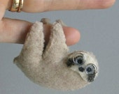 Sloth with glasses miniature felt plush stuffed animal with bendable legs and hand painted face -rain forest animal