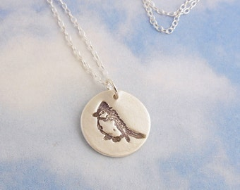 Blue jay bird necklace - handmade fine silver disc charm with hand stamped bird on a sterling silver chain - free shipping USA