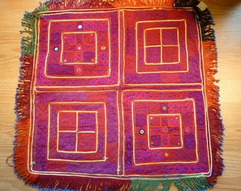 Red and Violet Hazara Beaded Dowry Cloth