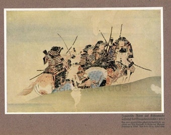 Antique German Print showing Samurai on Coast Patrol during the Mongolian Invasion. Published 1925