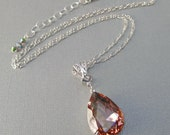 Peach Crystal Necklace - Prom Jewelry - Pendant - Downton Abbey Inspired Jewelry - VERSAILLES Peach