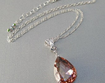 Peach Crystal Necklace - Prom Jewelry - Pendant - VERSAILLES Peach